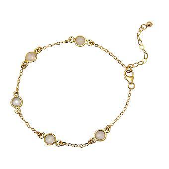 Banhado a ouro de pulseira - prata 925 - Gemshine - senhoras - quartzo - rosa - - 18 cm