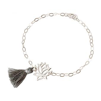 Women - bracelet - 925 Silver - Lotus Flower - tassel - grey - YOGA