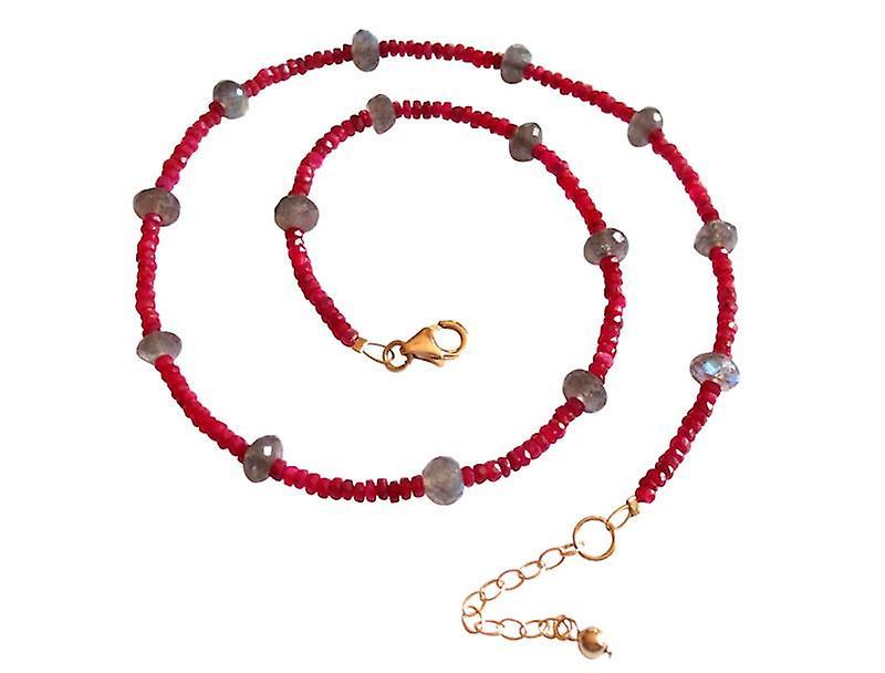 rougee Rubinkette Rubin und Labradorit Halskette veroret