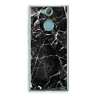 Sony Xperia XA2 Transparent Case (Soft) - Black Marble 2