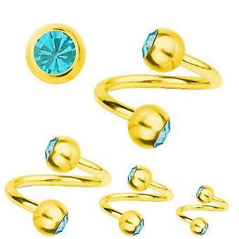 Spiral Twist Piercing Guld belagte Titanium 1,2 mm, SWAROVSKI elementer Aquamarine | 6-12 mm