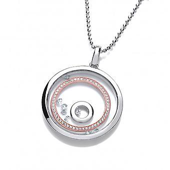 Cavendish francés celeste Saturno anillos colgante de plata con cadena de plata de 24-26