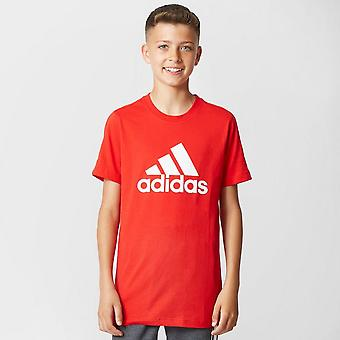 New Adidas Kids Sports Logo Classic Crew Neck Short Sleeve Tee Red