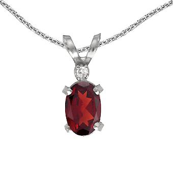 10k White Gold Oval Garnet And Diamond Filagree Pendant with 16