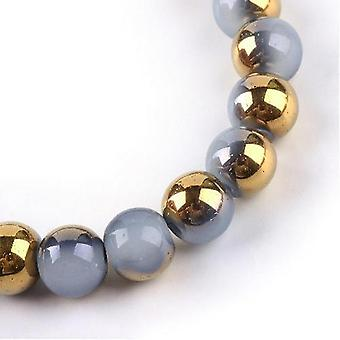 Strand 95+ Pale Blue/Gold Imitation Jade 8mm Plain Round Beads Y07895
