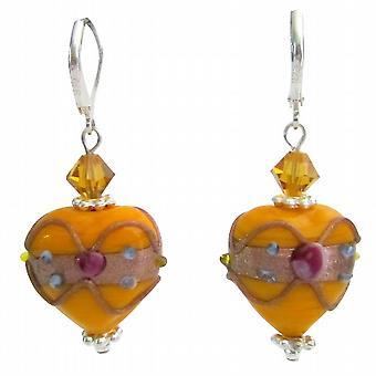 Latest Saffron Lampwork Heart Beads Swarovski Crystals Earrings