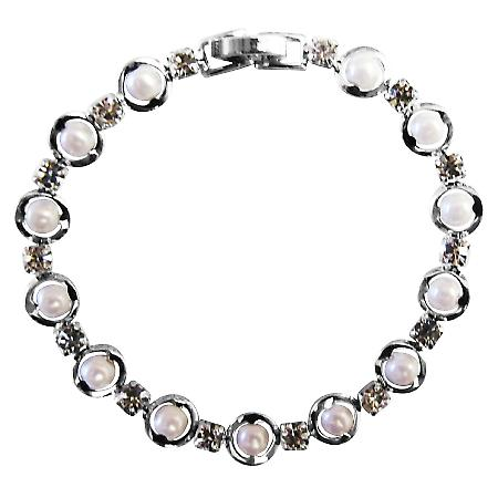 Delicate Bracelet White Pearls & Cubic Zircon Bracelet 7 Inches
