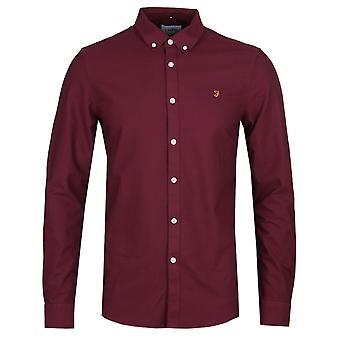 Farah Brewer Slim Fit vinröd Oxford skjorta