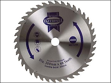 Faithfull Circular Saw Blade 300 x 30mm x 40T Fine Cross Cut