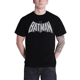 Batman T Shirt Mens Batman Retro Crackle-Logo neue offizielle DC Comics schwarz