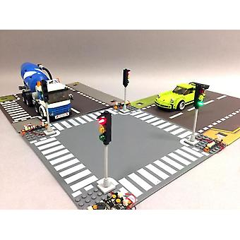 Brickstuff Deluxe 4-Way LED Traffic Light Intersection Kit - Brick-Built Traffic Lights - Fixed Design - KIT17D