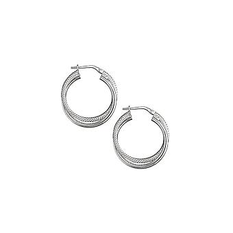 Eternity Sterling Silver Textured Twisted Hoop Earrings