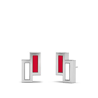 Arsenal Fc Asymmetric Enamel Stud Earrings In Red And White