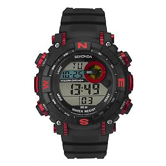 Sekonda Mens Digital Black/Red Bezel Rubber Strap Watch