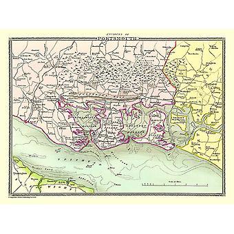 Gammal karta av Portsmouth omgivningar 1836 av Thomas Moule 1000 bit pussel (jhg)