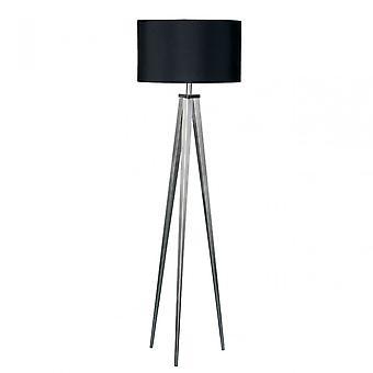 Premier Home Tripod Floor Lamp, Chrome, Fabric, Black