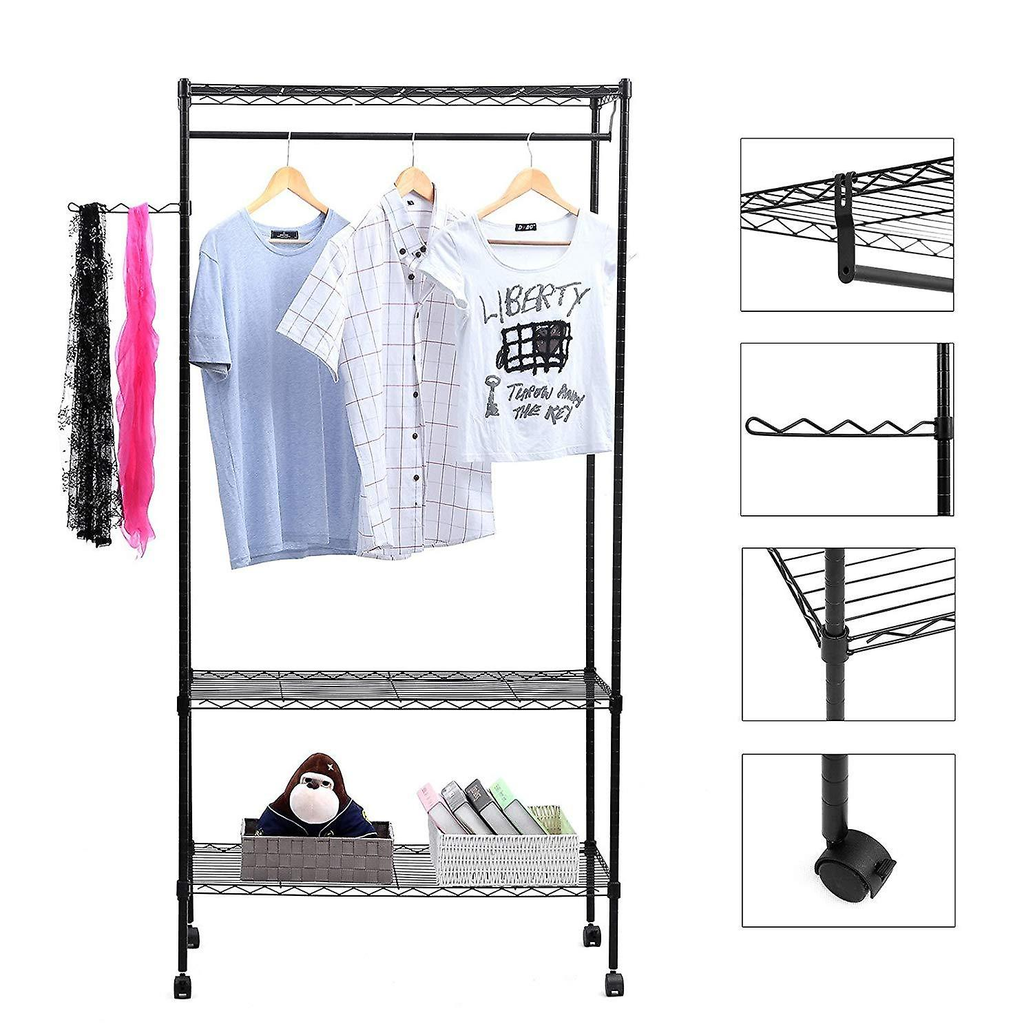 Metal clothes rack with wheels-black