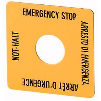 Label square (L x W) 50 mm x 50 mm EMERGENCY STOP (de, en, fr, it) Yellow, Black Eaton SQT11 1 pc(s)