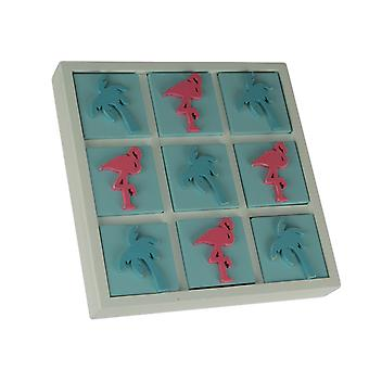 Tropical Flamingo and Palm Tree Tic Tac Toe Game Board