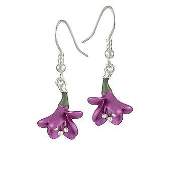 Eternal Collection Freesia Plum Enamel Silver Tone Flower Drop Pierced Earrings