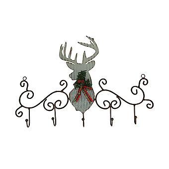 金属艺术卷轴生锈鹿与松树和弓墙钩架