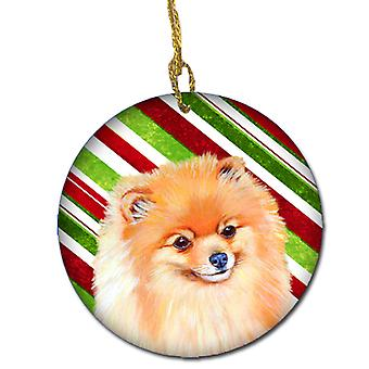 Pomeranian Candy Cane Holiday Christmas keramiske Ornament LH9260