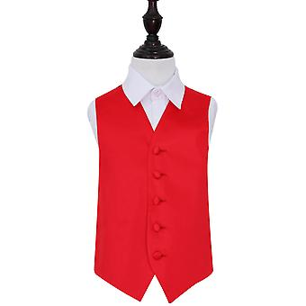 Boy's Red Plain satijn bruiloft gilet