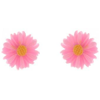 Klips på øredobber Store Petite rosa akryl tusenfryd blomster magnetiske klipp øredobber