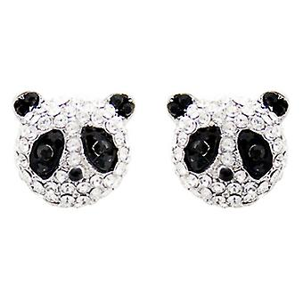 Butler & Wilson Panda Face Stud Earrings