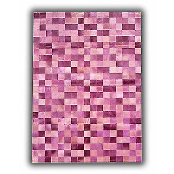 Rugs - Patchwork Leather Cubed Cowhide - Multi tones pink