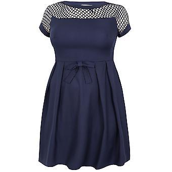 PRASLIN Navy Shift Dress With Netted Neckline & Shoulder Detail