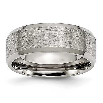 Titanium skrå kant 8mm Satin poleret Band Ring - ringstørrelse: 7-15