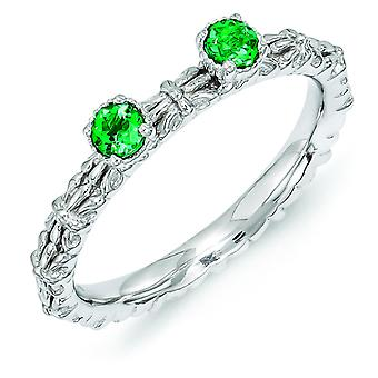 2.5mm Sterling Silver Stackable Expressions Created Emerald Two Stone Ring - Ring Size: 5 to 10