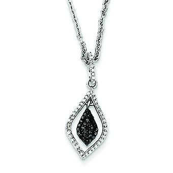 Sterling Silver Polished Prong set Open back Gift Boxed Rhodium-plated Lobster Claw Closure Black and White Diamond Fash