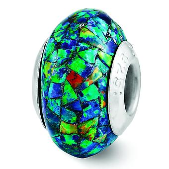 Sterling Silver Polished Antique finish Reflections Synthetic Simulated Opal Mosaic Bead Charm