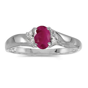 Sterling Silver Oval Ruby And Diamond Ring