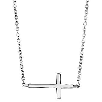 Sterling Silver Side Ways Cross Fashion Necklace, 18