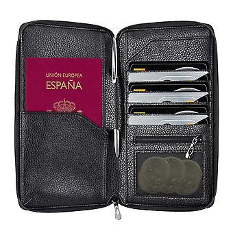 InventCase PU læder RFID-blokering pas / ID kort / penge pung arrangør indehaveren tilfælde dække for Spainsh pas - sort