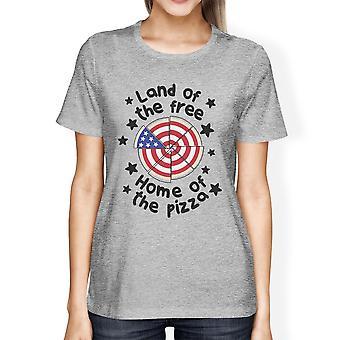Земля свободных пицца форму американский флаг дизайн графический футболки