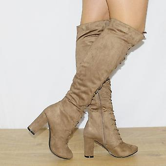 Koi Couture Taupe High Heel Boots
