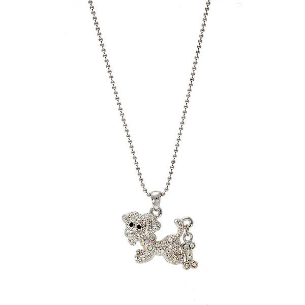 W.A.T Sparkling Crystal Dog And Bone Necklace