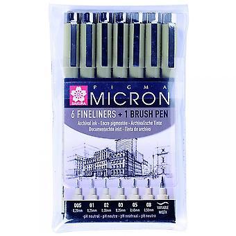 Sakura Pigma Micron sæt af 6 Fineliners & 1 Brush Pen