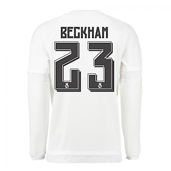 2015-16 Real Madrid Long Sleeve Home Shirt (Beckham 23) - Kids