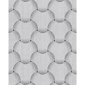 Retro wallpaper EDEM 1035-10 vinyl wallpaper structured with graphical pattern sparkling silver grey white 5.33 m2