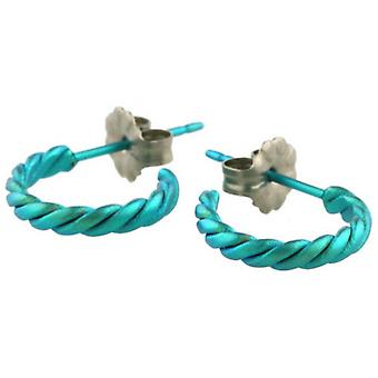 Ti2 Titanium Small Twisted Hoop Earrings - Kingfisher Blue