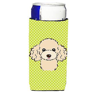 Checkerboard Lime Green Buff Poodle Ultra Beverage Insulators for slim cans