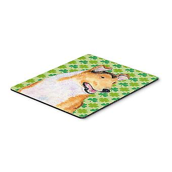 Collie Smooth St. Patrick's Day Shamrock Portrait Mouse Pad, Hot Pad or Trivet