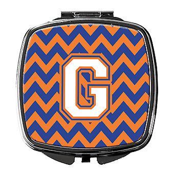 Letter G Chevron Blue and Orange #3 Compact Mirror