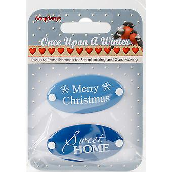 ScrapBerry's Once Upon A Winter Metal Embellishments 2/Pkg-#1 Word Plates 3409102