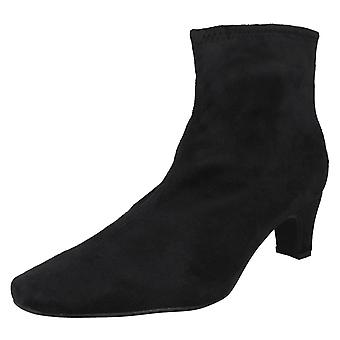 Ladies Spot On High Heeled Boot - Black Textile - UK Size 8 - EU Size 41 - US Size 10
